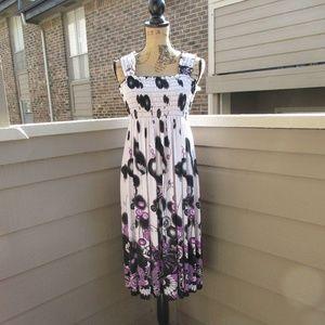 FC Purple & black knit floral sun dress L-XL 1147